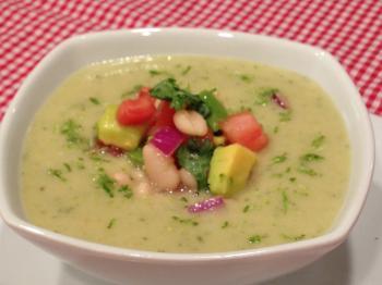 White Bean Avocado Soup with White Bean Pico de Gallo